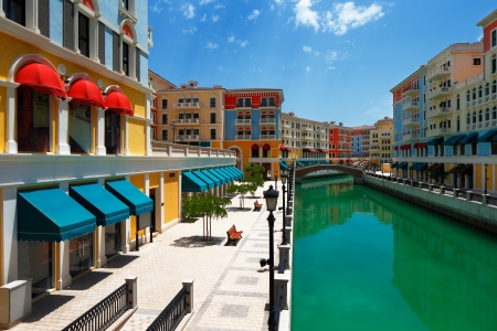 "promenade: Qanat Quartier, The Pearl Qatar's ""Venice-like community"" has an extensive canal system, pedestrian-friendly squares, plazas and beach front townhouses"