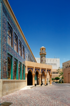Katara is a cultural village in Doha, Qatar  It is located on the eastern coast between West Bay and the Pearl  This image showers the pigeon towers and Mosque
