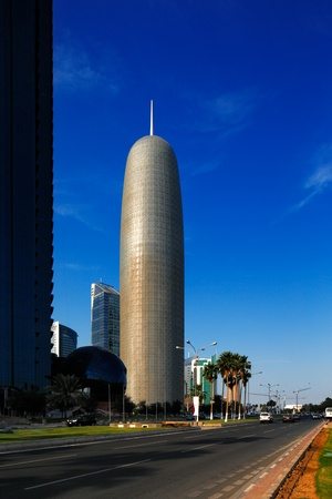Doha Tower was designed by renowned French architect Jean Nouvel  After completion of construction in 2012 it was branded as Burj Doha by the owner, H  E  Sheikh Saud bin Muhammed Al Thani