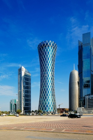 The hyperbolic shape of the tower is intended to represent a desert whirlwind, hence the name  Tornado Tower  It is located in West Bay Doha close to the Cornishe and stands 200m tall Editorial