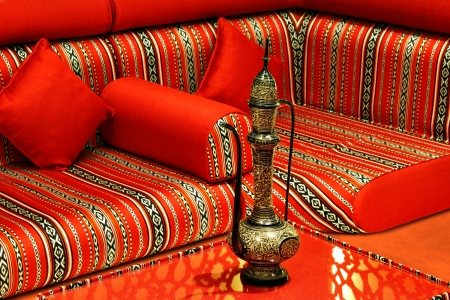 seating: The term Majlis is used to refer a private place where guest are received and entertained, especially in the Islamic countries  It is particularly relevant during Ramadan Stock Photo