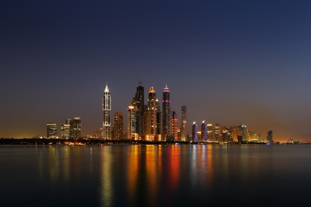 Dubai Marina, UAE at dusk as seen from Palm Jumeirah, this skyline view is simply spectacular photo