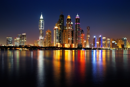dubai mall: Dubai Marina, UAE at dusk as seen from Palm Jumeirah, this skyline view is simply spectacular