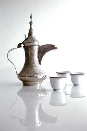 A dallah is a metal pot with a long spout designed specifically for making Arabic coffee Stock Photo
