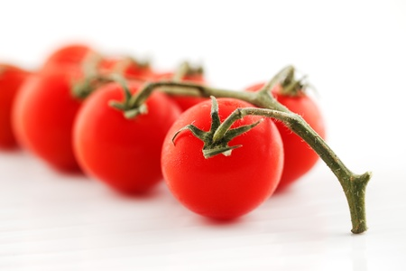 Organic fresh tomatoes on the vine, shot against a white background Stock Photo - 22169765