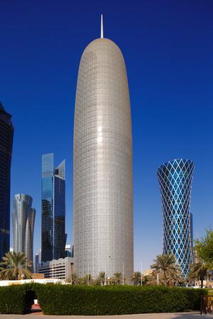 qatar: Doha Tower, also known as the Burj Doha is an iconic high rise tower located in West Bay, Doha, Qatar Editorial