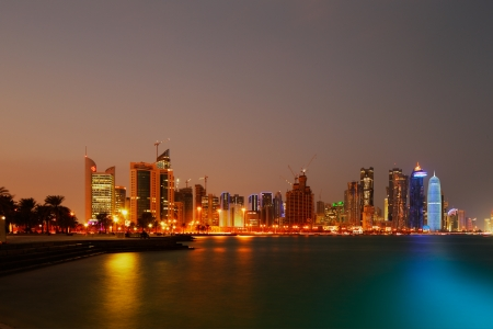 Doha, Qatar  The skyline of West Bay as seen from the Corniche