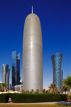 high rise: Doha Tower, also known as the Burj Doha is an iconic high rise tower located in West Bay, Doha, Qatar Editorial