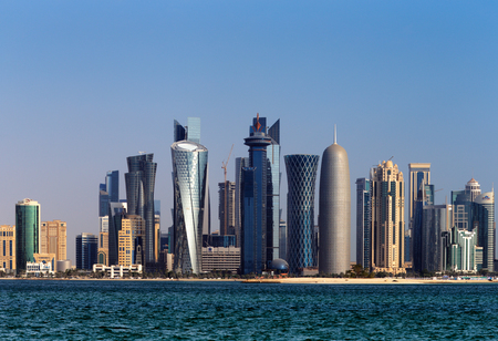 qatar: Doha, Qatar  The West Bay City skyline as viewed from The Grand Mosque Doha Editorial