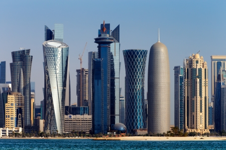 skyscraper: Doha, Qatar  The West Bay City skyline as viewed from The Grand Mosque Doha Editorial