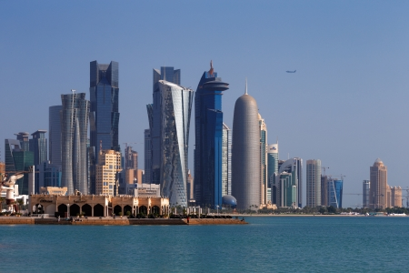 Doha, Qatar  The West Bay City skyline as viewed from The Grand Mosque Doha Editorial