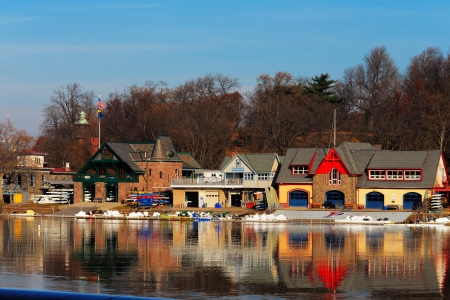The Schuylkill River hosts Philadelphias famed boathouse row, as a colorful backdrop to the Fairmount Dam Fishway, City of Philadelphia Editorial