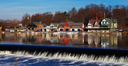 row house: The Schuylkill River hosts Philadelphias famed boathouse row, as a colorful backdrop to the Fairmount Dam Fishway, City of Philadelphia Editorial