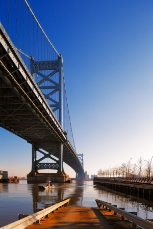 ben franklin: View of Philadelphia s Ben Franklin bridge which links Philadelphia to New Jersey
