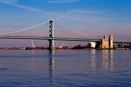 View of Philadelphia s Ben Franklin bridge which links Philadelphia to New Jersey photo
