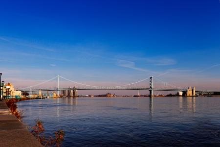ben franklin: View of Philadelphia s Ben Franklin bridge which links Philadelphia to New Jersey