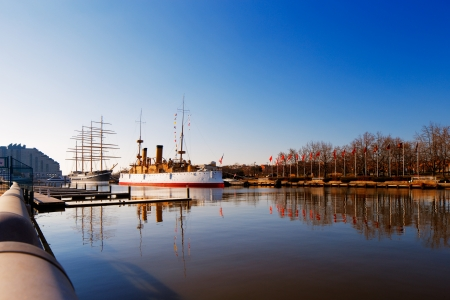 Philadelphias Penns Landing is home to two of Americas most historic sailing ships, the cruiser USS Olympia and the Mosholu