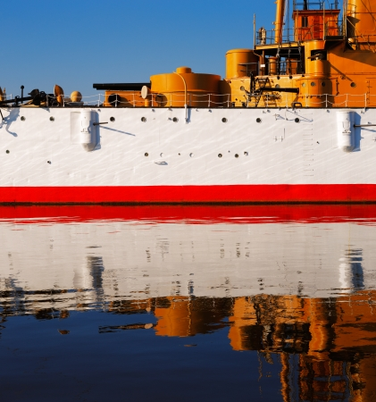 The USS Olympia stands reflective and graceful in the still waters of Penn�s Landing, City of Philadelphia