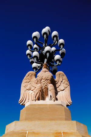 Antique Street Lamps stand on a Philadelphia Eagle on The Norman Cohn Family, Market Street Bridge, City of Philadelphia photo