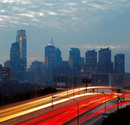 time lapse: City of Philadelphia, skyline is beautifully lit up at dusk