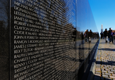 The Vietnam Veterans Memorial in Washington DC, USA  It honors U S  service members of the U S  armed forces who fought in the Vietnam War, service members who died in service in Vietnam South East Asia