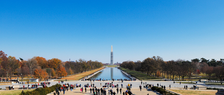 The Washington Monument as seen from the Lincoln Memorial in Washington DC, USA, Built to commemorate George Washington  Undergoing a repair works in 2013