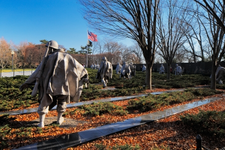 The Korean War Veterans Memorial in Washington DC, USA  It commemorates those who served in the Korean War, located in West Potomac Park, southeast of the Lincoln Memorial  Stock Photo - 25485420