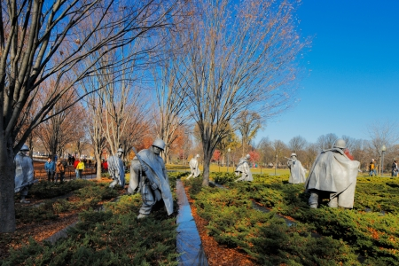 The Korean War Veterans Memorial in Washington DC, USA  It commemorates those who served in the Korean War, located in West Potomac Park, southeast of the Lincoln Memorial
