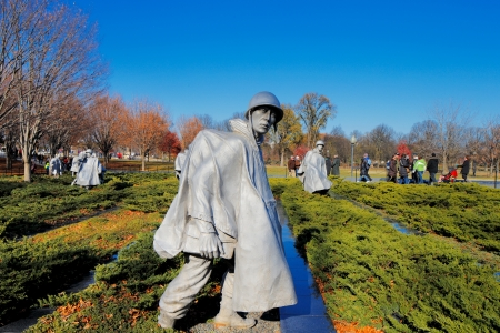 The Korean War Veterans Memorial in Washington DC, USA  It commemorates those who served in the Korean War, located in West Potomac Park, southeast of the Lincoln Memorial  Stock Photo - 25485422