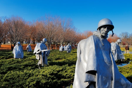 The Korean War Veterans Memorial in Washington DC, USA  It commemorates those who served in the Korean War, located in West Potomac Park, southeast of the Lincoln Memorial  Editorial