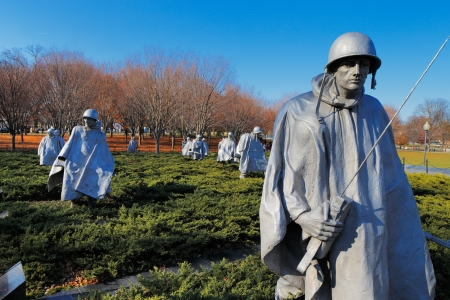north korea: The Korean War Veterans Memorial in Washington DC, USA  It commemorates those who served in the Korean War, located in West Potomac Park, southeast of the Lincoln Memorial  Editorial