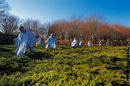 The Korean War Veterans Memorial in Washington DC, USA  It commemorates those who served in the Korean War, located in West Potomac Park, southeast of the Lincoln Memorial  Stock Photo - 25485425
