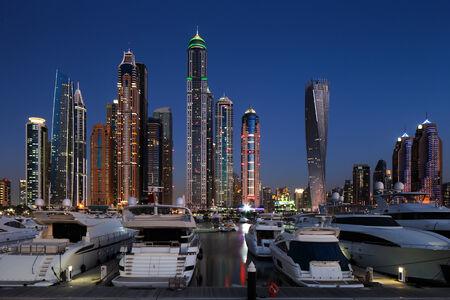 Dubai, UAE  A skyline panoramic view of Dubai Marina showing the Marina and JBR   Jumeirah Beach Residences