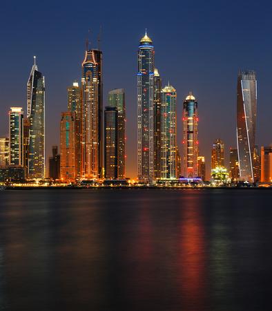 Dubai, UAE  A section of Dubai Marina at dusk as viewed from Palm Jumeirah