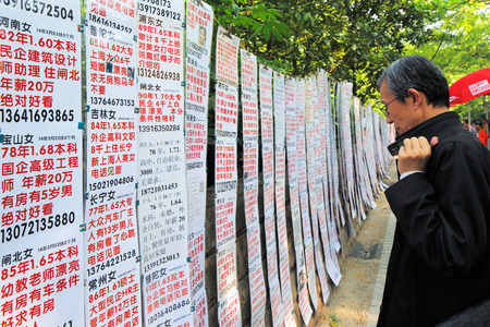 People s Park, Shanghai, China  Parents traditionally advertise and search for a marriage partner for their son or daughter