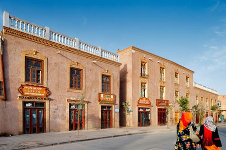 xinjiang: L'ancienne ville de Kashgar, Chine (connue en chinois Kashi). Ce est une ville chinoise oasis sur la route commerciale de la soie dans la province du Xinjiang, une maison à la tribu autonome ouïghoure. Éditoriale
