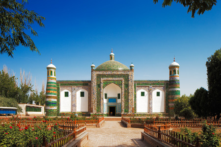 A private family tomb built in the form of a mosque in the ancient city of Kashgar, Xinjiang province Western China