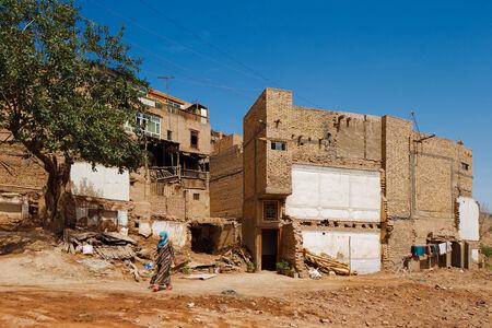 xinjiang: L'ancienne ville de Kashgar, Chine (connue en chinois Kashi). Ce est une ville chinoise oasis sur la route commerciale de la soie dans la province du Xinjiang. Il est le foyer de la tribu autonome ouïghoure Éditoriale