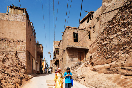 The ancient city of Kashgar, China (known in Chinese as Kashi). It is an oasis Chinese city on the silk trading route in Xinjiang province. It is home to Uyghur Autonomous Tribe