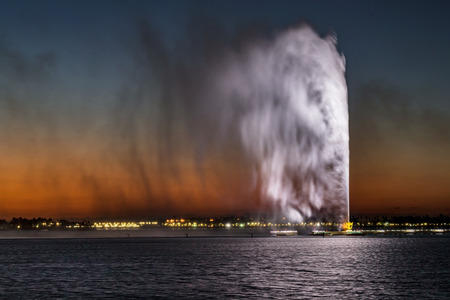 King Fahds Fountain, also known as the Jeddah Fountain, is a fountain in Jeddah, Saudi Arabia, the tallest of its type in the world Stock Photo