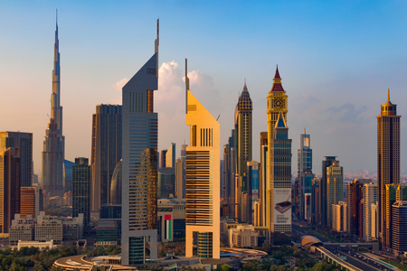 A skyline view of Dubai, UAE showing the buildings of Sheikh Zayed Road and DIFC, the financial hub of Dubai, including Emirates Towers, Burj Khalifa, Index Building and Chelsea Tower