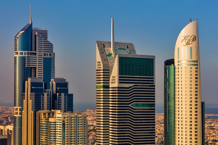 A skyline view of Dubai, UAE showing the buildings of Sheikh Zayed Road near DIFC, the financial hub of Dubai Editorial