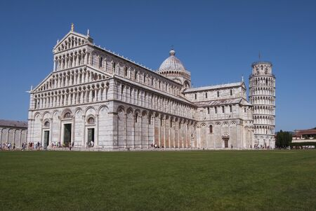 Cathedral of Our Lady of the Assumption of Pisa, beautiful summer and sunny day. On the Piazza dei Miracoli, ancient roman and religious monument