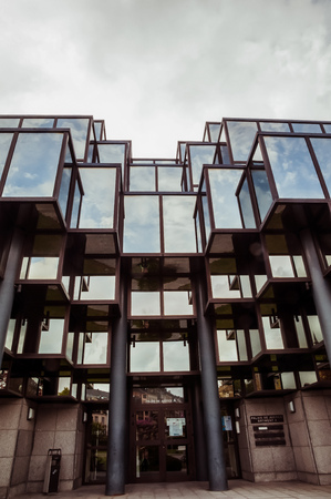 Editorial: Courthouse of Arlon, Province of Luxembourg, Belgium. View of the exterior, modern glass architecture. Historic building of the city