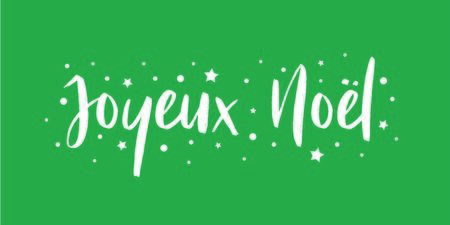Merry Christmas - calligraphic and sober text composition on green background with stars and polka dots. Vector for greeting card with french lettering