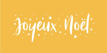 Merry Christmas - calligraphic and sober text composition on yellow background with stars and polka dots. Vector for greeting card with french lettering