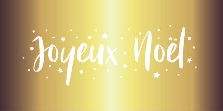 Merry Christmas - calligraphic and sober text on gold background with stars and polka dots. Vector for greeting card with french lettering