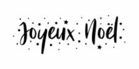Merry Christmas - calligraphic and sober text composition on white background with stars and polka dots. Vector for greeting card with french lettering