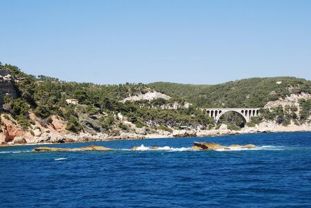 Beautiful view of the sea with the horizon and mountainous rocks in Provence, Marseille Stock Photo