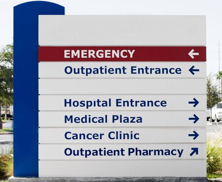 hospital sign: Hospital sign showin direction to different medical services